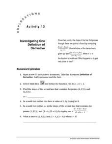Investigating One Definition of Derivative Lesson Plan