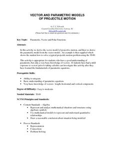 Vector and Parametric Models of Projectile Motion Lesson Plan