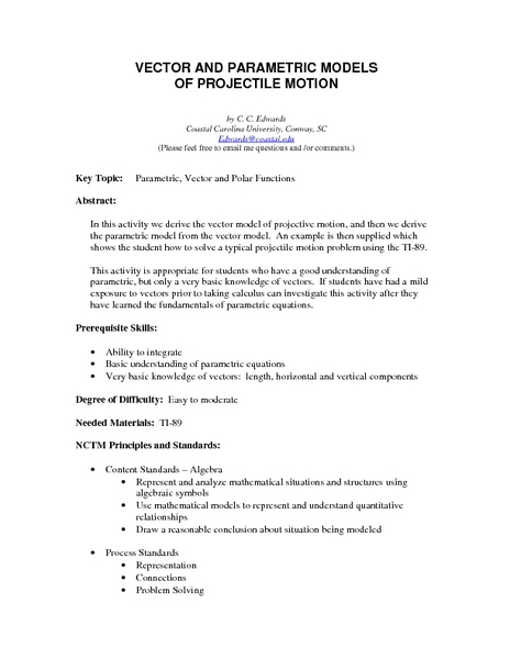 Vector and Parametric Models of Projectile Motion Lesson