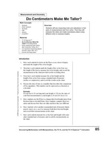 Do Centimeters Make Me Taller? Lesson Plan