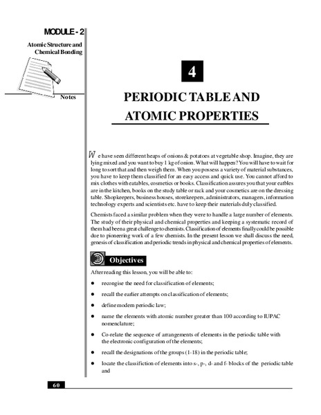 Periodic Table and Atomic Properties Handouts & Reference