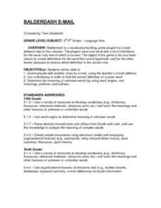 Balderdash E-Mail Lesson Plan