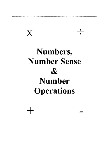 Numbers, Number Sense, and Number Operations Lesson Plan