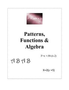 Patterns, Functions & Algebra Lesson Plan