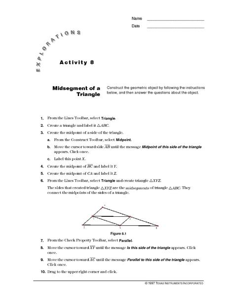 Midsegment Of A Triangle Lesson Plan For 10th Grade