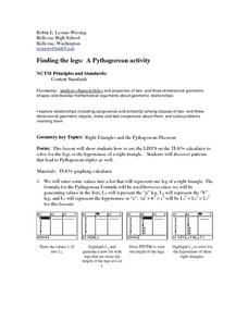 Finding the Legs: A Pythagorean Activity Lesson Plan