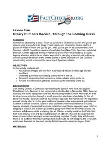 Hillary Clinton's Record, Through the Looking Glass Lesson Plan