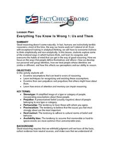 Everything You Know Is Wrong 1: Us and Them Lesson Plan