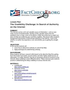The Credibility Challenge: In Search of Authority on the Internet Lesson Plan