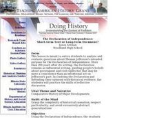 Social Studies: Jeffeerson and the Declaration Lesson Plan