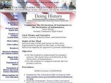 Comparing The Declaration of Sentiments to the Declaration of Independence Lesson Plan