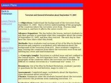 Terrorism and General Information about September 11, 2001 Lesson Plan