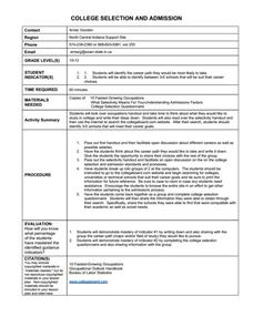 College Selection and Admission Worksheet