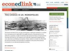 The Choice Is Us: Monopolies Lesson Plan