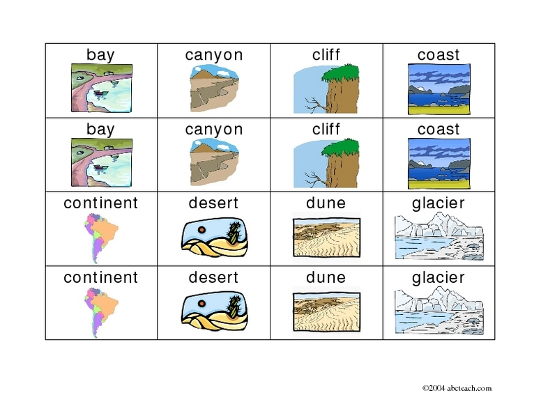 Worksheets Landforms And Bodies Of Water Worksheets landforms and bodies of water lesson plans worksheets memory game