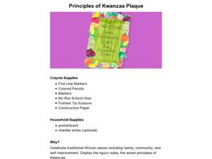 Principles of Kwanzaa Plaque Lesson Plan