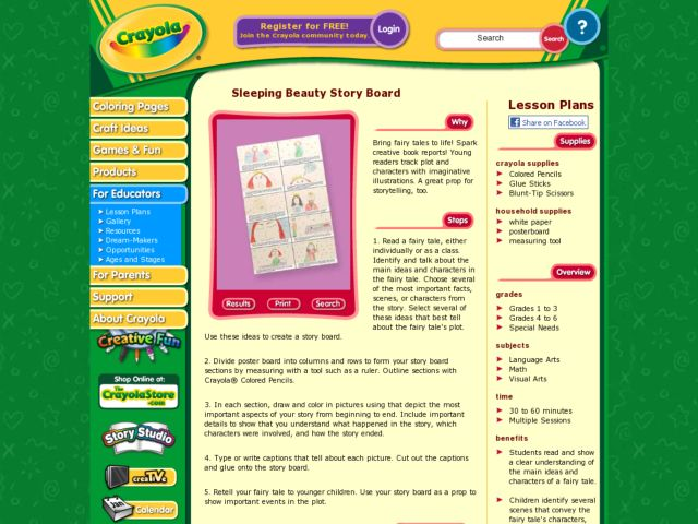 Sleeping Beauty Story Board Lesson Plan for 3rd - 6th Grade | Lesson