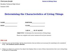 Characteristics of Living Things Lesson Plan