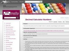 Decimal Calculator Numbers Lesson Plan