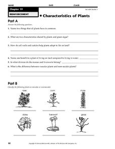 characteristics of plants worksheet for 7th 9th grade lesson planet. Black Bedroom Furniture Sets. Home Design Ideas