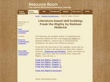Literature-Based Skill Building: Freak the Mighty By Rodman Philbrick Lesson Plan