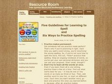 Six Ways To Practice Spelling Lesson Plan