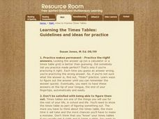 Learning the Times Tables:   Guidelines And Ideas for Practice Lesson Plan