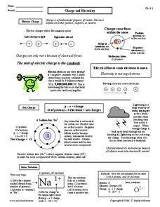 Charge and Electricity Worksheet for 9th - 12th Grade | Lesson Planet