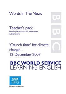 "Words in The News ' ""Crunch Time For Climate Change"" Lesson Plan"