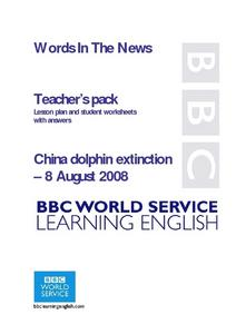 China Dolphin Extinction Lesson Plan