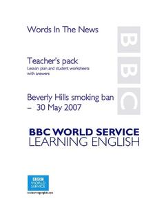 Words In The News:  Beverly Hills Smoking Ban Lesson Plan
