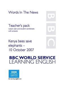 Kenya Bees Save Elephants Lesson Plan