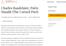 Charles Baudelaire: Poète Maudit (The Cursed Poet) Lesson Plan