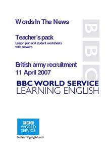 British Army Recruitment Lesson Plan