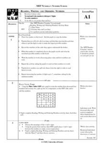 Reading, Writing, and Ordering Numbers Lesson Plan