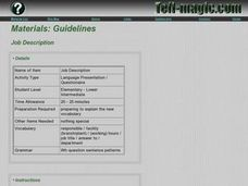 Guidelines Job Description Lesson Plan