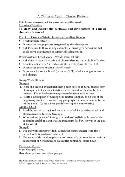 A Christmas Carol - Charles Dickens Lesson Plan for 6th - 10th Grade | Lesson Planet