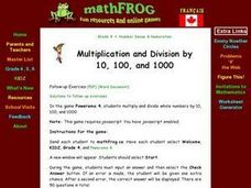 Multiplication and Division by 10, 100, and 1000 Lesson Plan