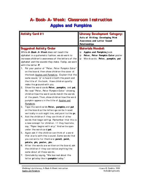 Apples and Pumpkins Lesson Plan