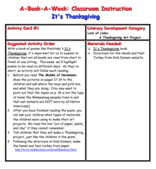 It's Thanksgiving Lesson Plan