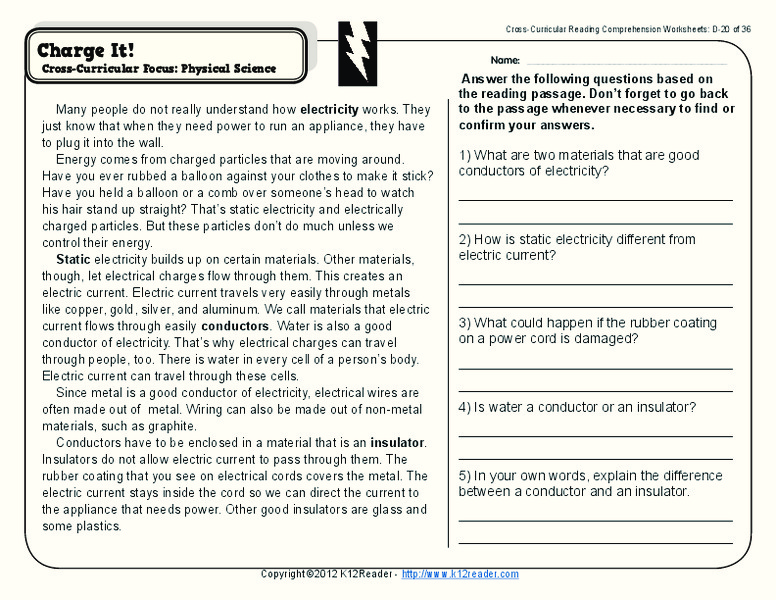Conductors And Insulators Lesson Plans Worksheets