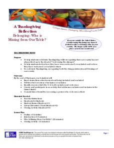 A Thanksgiving Reflection:  Who is Missing From Our Table? Lesson Plan