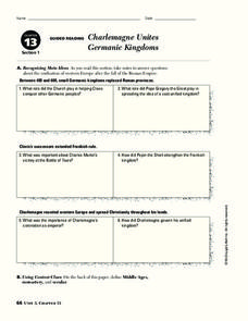 Charlemagne Unites Germanic Kingdoms Worksheet