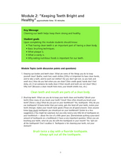 "Module 2: ""Keeping Teeth Bright and Healthy"" Lesson Plan"