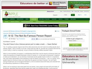 The Not-So-Famous Person Report Lesson Plan