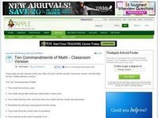 Ten Commandments of Math Lesson Plan