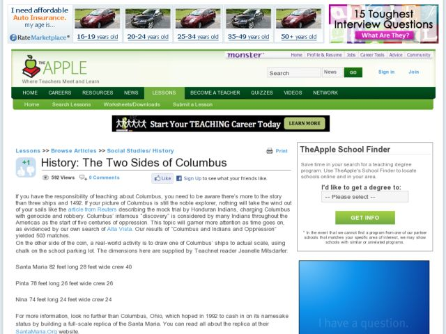 History: The Two Sides of Columbus Lesson Plan