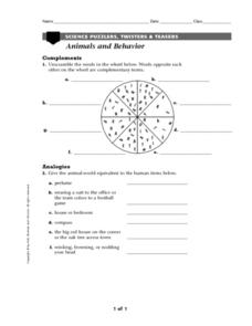 Animals And Behavior Worksheet