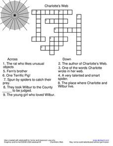 Charlotte's Web Crossword Puzzle Worksheet