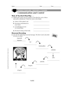 Communication and Control Worksheet